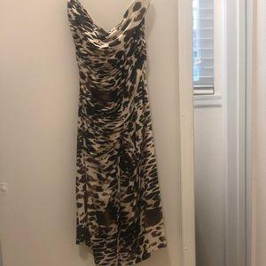 Illusion Wrap Dress with ruching, Animal Print